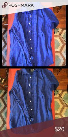 Blue Linen Long-Sleeve Button Down, S Good condition, hardly been worn Original Penguin shirt. Original Penguin Shirts Casual Button Down Shirts