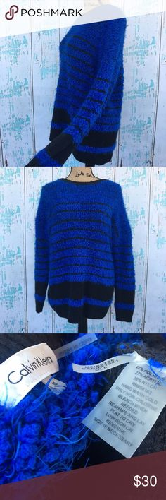"""Calvin Klein blue and black fuzzy striped sweater Calvin Klein blue and black fuzzy striped oversized sweater, like new, size medium   🌵Bundle deals available. I carry various sizes/brands. 🌵No trades, holds, or modeling. 🌵All reasonable offers accepted only through """"offer"""" button. No lowball offers please. Please submit final offer willing to pay as I prefer to not counteroffer. 🌵Happy Poshing! Calvin Klein Sweaters Crew & Scoop Necks"""
