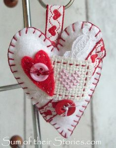 Valentine Crafts, Valentines, Love Bears All Things, Heart Keyring, Cross Stitch Heart, Heart Crafts, Blanket Stitch, Sewing Box, Old Jewelry