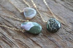 Cute Necklace, Gold Pendant Necklace, Lariat Necklace, Stone Jewelry, Wire Jewelry, Beaded Jewelry, Jewellery, Petoskey Stone, Jasper Stone