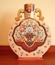 Antique Chinese moon vase flask hand painted, gilded, one of a kind, RARE, large