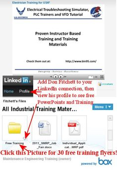 Click pic for 30 free maintenance training flyers, 1 free powerpoint. Add Don Fitchett to your linkedin connection and then view his profile to have access to even more free training material. Connect to http://www.linkedin.com/profile/view?id=410151
