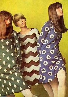 Dresses by Betsey Johnson for Paraphernalia and opaque tights by Solar, 1966.