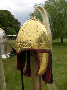 replica of the Frankish spangenhelm of Morken (Germany).