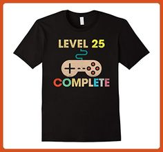 Mens Level 25 Complete Tshirt Vintage Retro 25th Birthday Gift Medium Black - Birthday shirts (*Partner-Link)