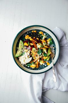 fall veg + lentil bowl with goji ginger tahini cream // @thefirstmess
