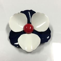 Vtg MOD 60's Enamel Pansy Posey Flower Brooch Pin Lot Red White Navy Blue  Dellagraces Vintage Jewerly