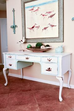 Coastal Desk Makeover With Rope Handles - Slightly Coastal