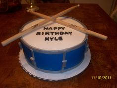 Snare Drum Cake - Buttercream with gumpaste accents....sticks are real.