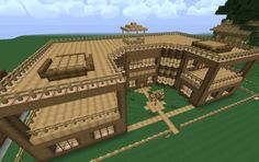 Minecraft Wood Mansion I would probably use some stone too Minecraft Wooden House, Minecraft Villa, Minecraft Mansion, Minecraft Houses For Girls, Minecraft Houses Blueprints, Minecraft Architecture, Minecraft Buildings, Minecraft Pixel Art, Minecraft Bridges