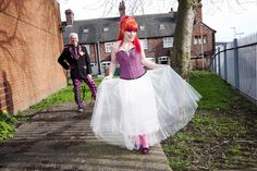 Claire is like a punk rock fairy godmother and Glyn is like the most awesome man behind the curtain ever. Emo Wedding Dresses, Punk Rock Wedding, Wedding Inspiration, Wedding Ideas, Wedding Stuff, Unconventional Wedding Dress, Offbeat Bride, Punk Fashion, Women's Fashion Dresses