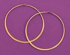14K Gold Plated Sterling Silver Hoop Earrings, 2-1/4 inch diameter Silver Messages. $50.99