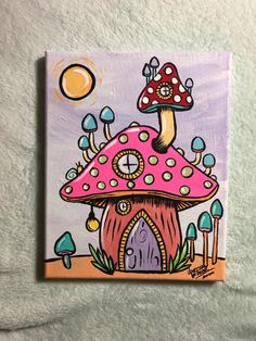 Mushroom house acrylic painting on canvas Available on Etsy Small Canvas Paintings, Easy Canvas Art, Small Canvas Art, Cute Paintings, Mini Canvas Art, Acrylic Paintings, Canvas Draw, Canvas Painting Designs, Easy Canvas Painting
