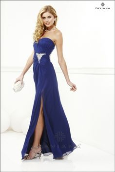 Strapless Chiffon with gathered ruching and bead detail
