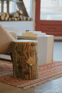 Clear Stump End Table