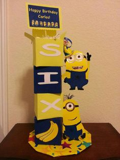 3 Custom Minion theme Center pieces by MesmerizingDesigns on Etsy