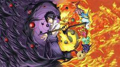 Anime 1920x1080 Naruto Shippuuden Uzumaki Naruto Uchiha Sasuke Rinnegan anime boys manga Sharingan fire Bijuu
