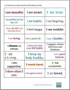Positive Affirmations for Kids Free Printable | Best Positive ...