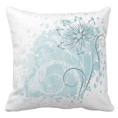 White Pillow with Light Aqua Floral Design