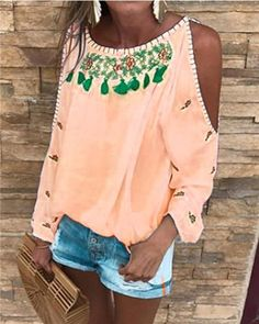 Sweet Long Sleeve Off Shoulder Casual Tops Outfit Chic, Casual Tops For Women, Summer Tops, Spring Summer, Plus Size Blouses, Types Of Sleeves, Shirts, Crew Neck, Free Shipping