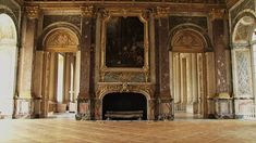View of empty room interior, Versailles. In the floor a beautiful Versailles Parquet