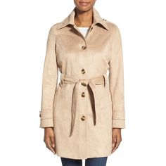 Via Spiga Belted Faux Suede Trench Coat ($178) ❤ liked on Polyvore featuring outerwear, coats, sand, beige trench coat, trench coat, faux suede trench coat, lightweight trench coat and beige coat