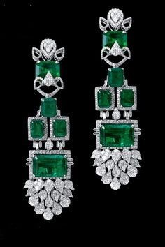 Emerald and Diamond Pendant Earrings