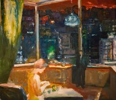 Interior with Cityscape   -   Elmer Bischoff , 1969  American, 1916-1991  Oil on canvas , 79,75 x 69.75 in.