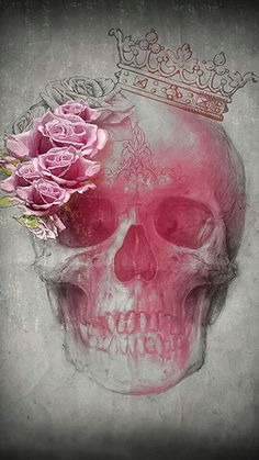Skull with pink roses and crown