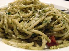 spaghetti with home made pesto and sun-dried tomatoes