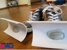 PVC pipe + hot glue + old shoes = snow shovel shoes lol