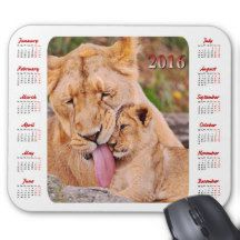 Mothers Love 2016 Calendar Mouse Pad – Lioness