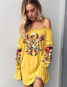 Loose Fitting Bohemian Style Bell Sleeve Dress