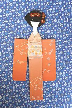 Elegant Apricot Kimono Paper Doll