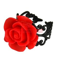 Gothic Red Rose Ring - LB341 from Dark Knight Armoury