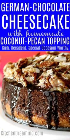 If you're looking for the perfect Cheesecake to serve for special occasions or guests, this German Chocolate Cheesecake fits the bill. The rich coconut-pecan topping is amazing paired with the double Coconut Pecan, Coconut Cookies, Köstliche Desserts, Dessert Recipes, Dessert Blog, Food Cakes, Cupcake Cakes, German Chocolate Cheesecake, German Chocolate Cookies