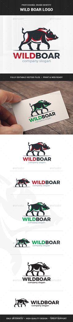 Wild Boar #Logo Template - Animals Logo Templates Download here: https://graphicriver.net/item/wild-boar-logo-template/19731647?ref=alena994