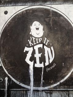 KIZR Promo Mural. A vinyl playing deck with a KIZR slipmat! #KIZR #keepitzenrecords #vinyl #housemusic #streetart #blackandwhite #slipmat #mural