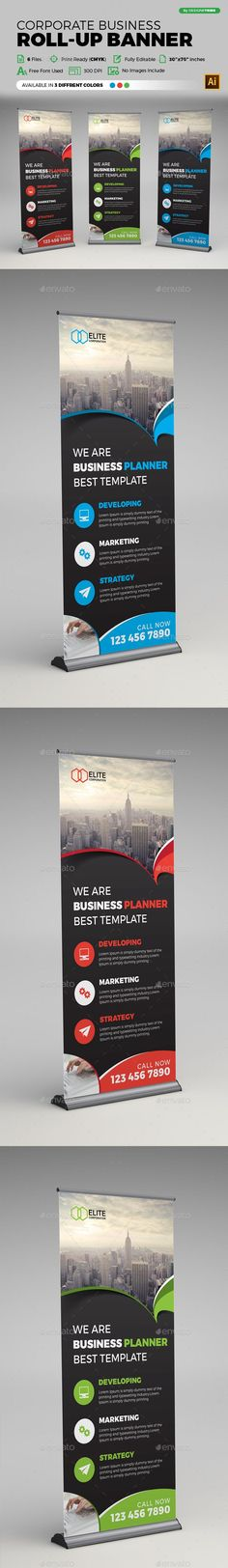 Corporate Business Rollup Banner — Vector EPS #service #stand • Available here → https://graphicriver.net/item/corporate-business-rollup-banner/18718291?ref=pxcr