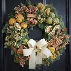 Wreaths are a classic Christmas tradition and they're great fun to make! Here's a list of over 80 beautiful Christmas ideas. Christmas Door Wreaths, Christmas Door Decorations, Christmas Flowers, Natural Christmas, Noel Christmas, Homemade Christmas, Rustic Christmas, Beautiful Christmas, Christmas Crafts