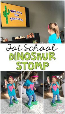 Learning is more fun when it involves movement! We Are the Dinosaurs is one of our favorite movement songs, and it went perfectly with this Dinosaur Stomp gross motor activity. Great for tot school, preschool, or even kindergarten! Dinosaur Theme Preschool, Dinosaur Activities, Preschool Themes, Preschool Lessons, Toddler Activities, Preschool Printables, Dinosaur Songs, Preschool Curriculum, Toddler Learning