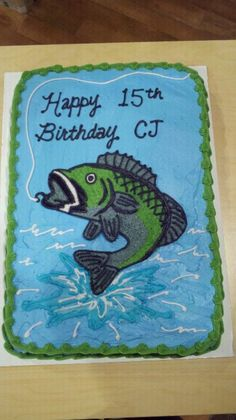 Bass Fish Birthday Cake  on Cake Central