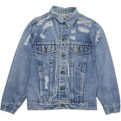 Denim Refinery The Abrade Me Jacket (2.720 ARS) ❤ liked on Polyvore featuring outerwear, jackets, tops, coats & jackets, jean jacket, distressed jean jacket, blue jackets, blue denim jacket and cotton jean jacket