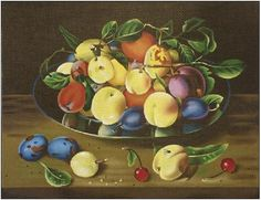 Melissa Shirley # 1944, Apricots and Plums, 13 mesh, 14 x 11