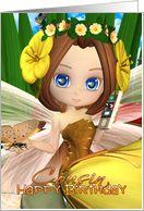 Cousin Birthday card with moonies cutie Fall Fairy card