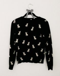 French Bulldog Sweater  Black with White Frenchies by MissPiggyUSA I want!!!