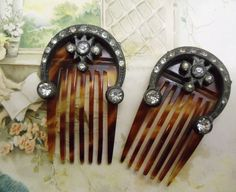 2 Antique Tortoise Shell Hair Combs with by UrbanRenewalDesigns, $42.00