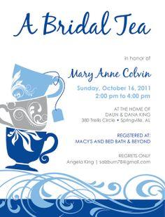 Bridal Tea Inviation- Tea Cup Design. $40.00, via Etsy.