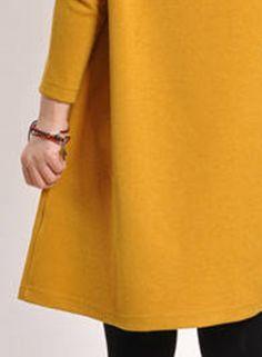 f9e694ea1e8 V Neck Long Sleeve Loose Fit Dress with Pocket