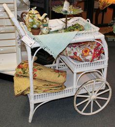 Antique Vintage Wicker Tea Cart